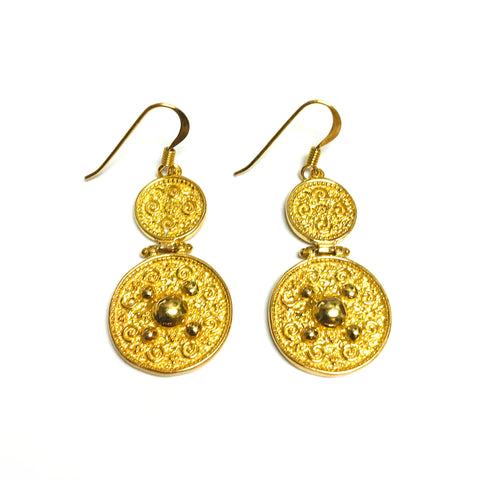 Sterling Silver 18 Karat Gold Overlay Byzantine Style Disc Drop Earrings
