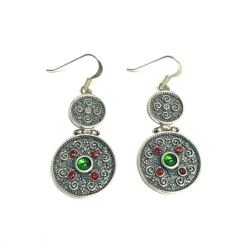 Oxidized Sterling Silver Byzantine Style Drop Disc Earrings