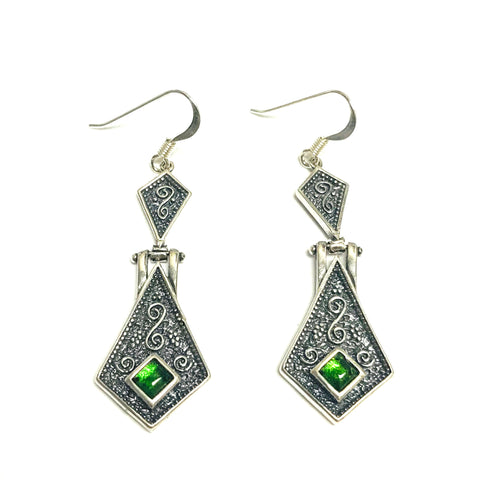 Oxidized Sterling Silver Byzantine Style Triangle Drop Earrings
