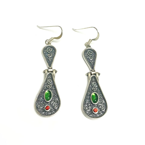 Oxidized Sterling Silver Byzantine Style Tear Drop Disc Earrings