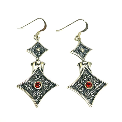 Oxidized Sterling Silver Byzantine Style Drop Rectangular Earrings