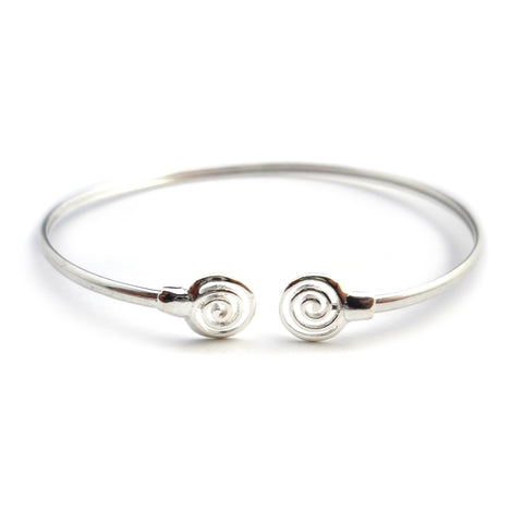 Sterling Silver Rhodium Plated Ancient Greek Spira Bangle, 7""