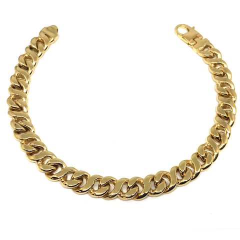 14k Yellow Gold Oval Curb Link Mens Bracelet, 8.5""