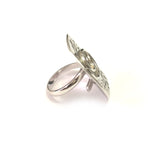 Greek Olive Leaf Disc Ring In Rhodium Plated Sterling Silver