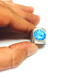Sterling Silver Rhodium Plated Synthetic Blue Opal Ring, Size 6