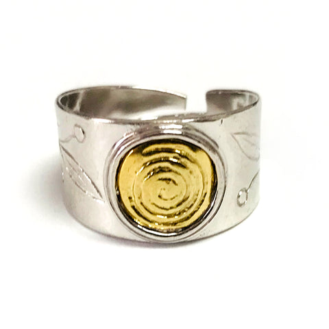 Sterling Silver and Gold Plated Spira Adjustable Ring