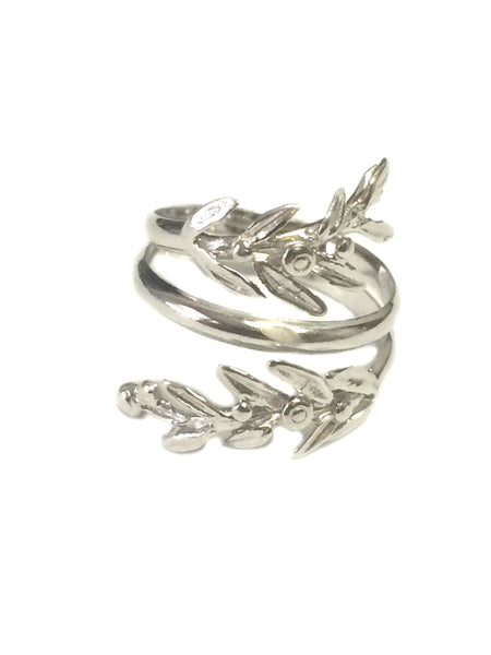 Sterling Silver Adjustable Olive Leafs Ring, Size 6