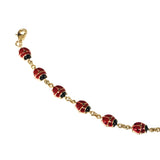14k Yellow Gold Enamel Ladybug Fancy Bracelet, 7""