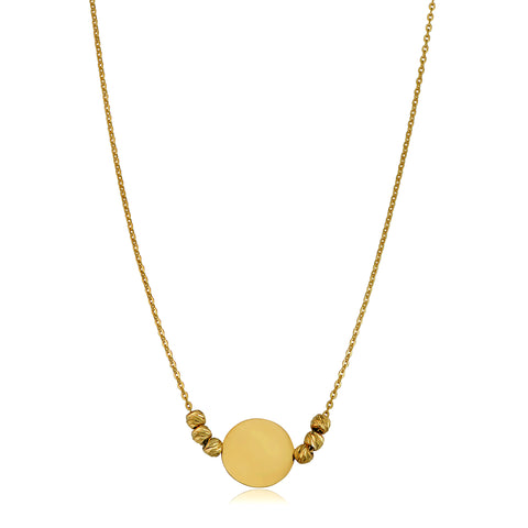 "14K Yellow Gold Round Disc And Bead Necklace, 17"" To 18"" Adjustable"
