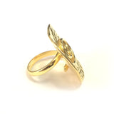 Greek Olive Leaf And Spira Disc Ring In 18k Gold Overlay Sterling Silver
