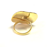 Greek Olive Leaf Andf Spira Disc Ring In 18k Gold Overlay Sterling Silver