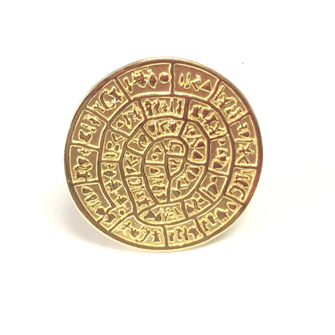 Greek Phaistos Disc Ring In 18k Gold Overlay Sterling Silver