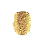 Sterling Silver 18k Gold Overlay Greek Phaistos Disc Ring, Size 9