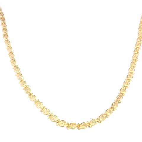 Sterling Silver 18 Karat Gold Overlay Plated Greek Spira Necklace, 17""