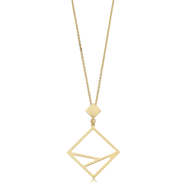 14k Yellow Gold Geometric Pendant Adjustable Necklace, 18""