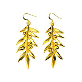 Sterling Silver 18 Karat Gold Overlay Plated Olive Leaf Drop Earrings