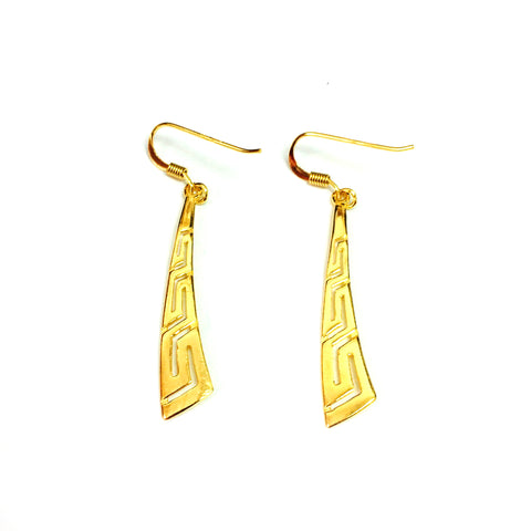 Sterling Silver 18 Karat Gold Overlay Plated Greek Key Drop Earrings