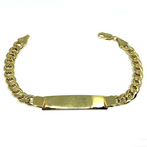 14k Yellow Gold Curb Link Mens ID Bracelet, 8.5""