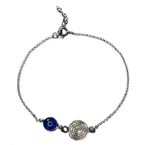 "Spira Theme Double Sided Evil Eye Adjustable Necklace In Sterling Silver, 17"" to 18"""