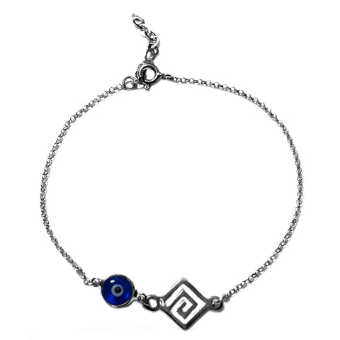 "Maiandros Theme Double Sided Evil Eye Adjustable Necklace In Sterling Silver, 17"" to 18"""