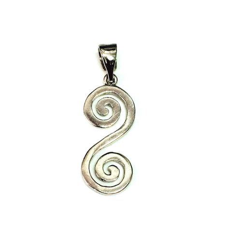 Sterling Silver Greek Double Spiral Key Pendant