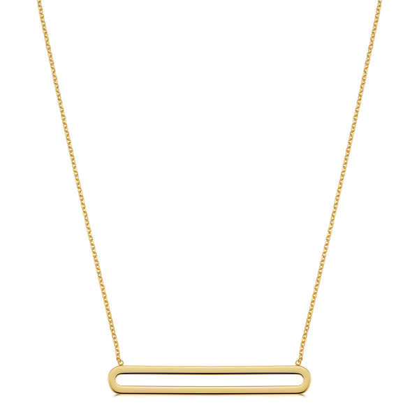 14K Yellow Gold Oval Bar Pendant Necklace, 18""