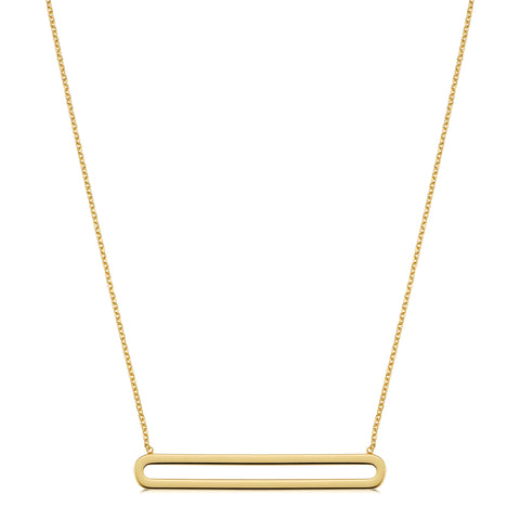 "14K Yellow Gold Oval Bar Pendant On 18"" Necklace"