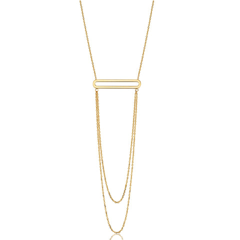 "14K Yellow Gold Oval Bar Pendant With Layered Chain 18"" Necklace"