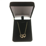 14K Yellow Gold Double Heart Pendant Necklace, 17""