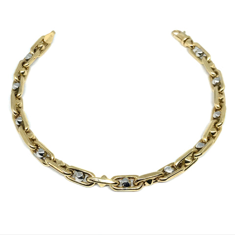 14k Yellow And White Gold Oval Link Mens Beads Bracelet, 8.25""