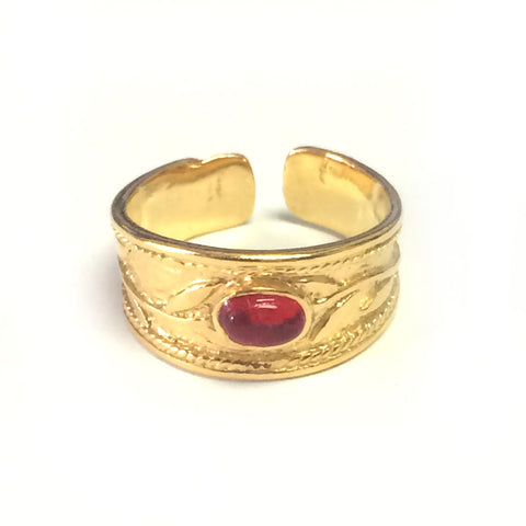 Sterling Silver And 18kt Yellow Gold Ovelry Byzantine Adjustable Band Ring