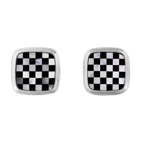 Sterling Silver Mother Of Pearl and Black Agate Checkerboard Cufflinks