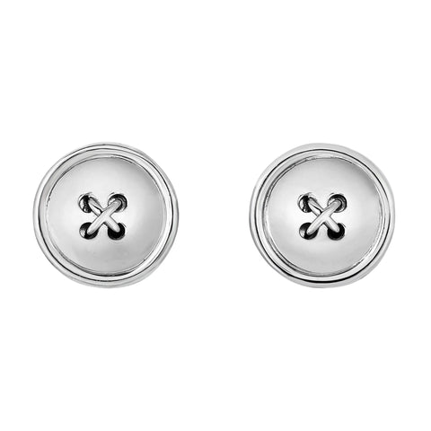 Sterling Silver Button Shaped Cufflinks