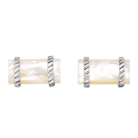 Sterling Silver Mother Of Pearl rectangular Cufflinks