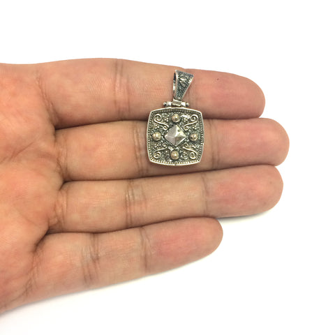 Oxidized Sterling Silver Byzantine Style Square Pendant
