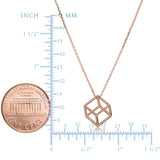14k Rose Gold 3D Cube Pendant Adjustable Necklace, 18""