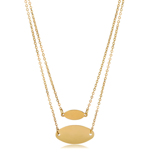 "14K Yellow Gold Graduated Oval Disc Layered On 18"" Necklace"