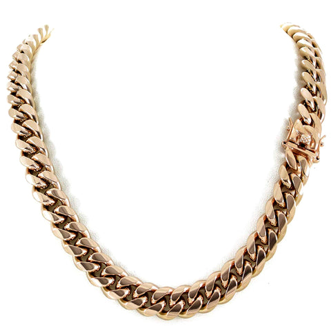 14k Rose Solid Gold Miami Cuban Link Chain Necklace, Width 6mm