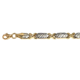14k Yellow And White Gold Hugs And Kisses Link Bracelet, 7,25""