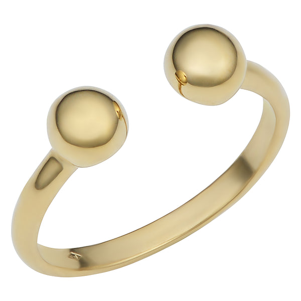 14k Yellow Gold Double Bead Open Ring