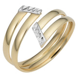 14k Two Tone Gold Double Bypass Ring