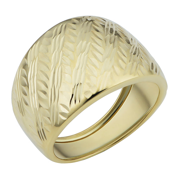 14k Yellow Gold Diamond Cut Cigar Band Ring