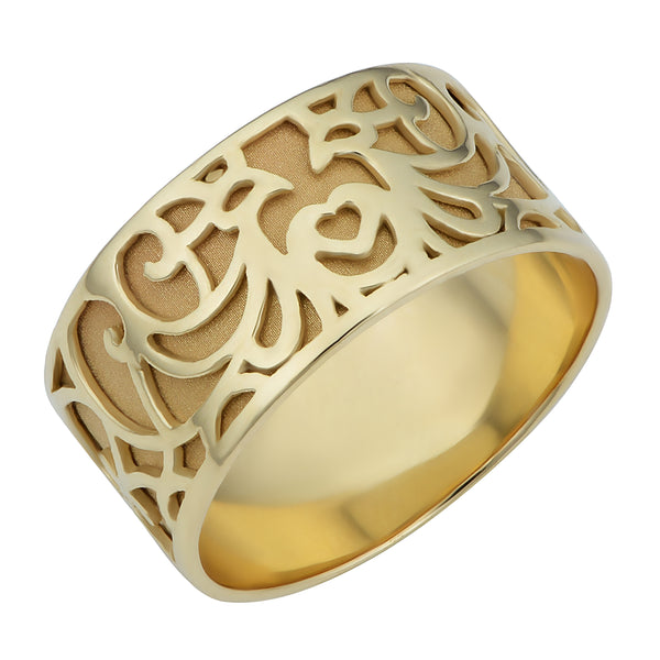 14k Yellow Gold 8.8mm Filigree Band Ring
