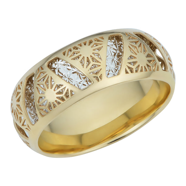 14k Two Tone Gold 7.1mm Filigree Band Ring