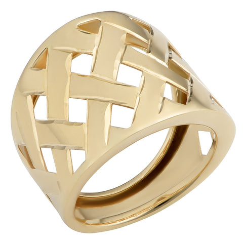 14k Yellow Gold Lattice Ring