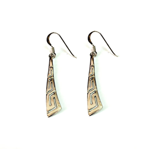 Sterling Silver Rhodium Plated Greek Key Drop Earrings