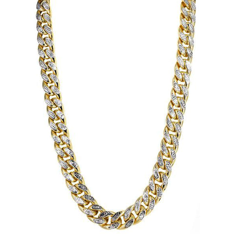 14k Yellow And White Gold Miami Cuban Pave Link Chain Necklace, Width 9.5mm, 22""