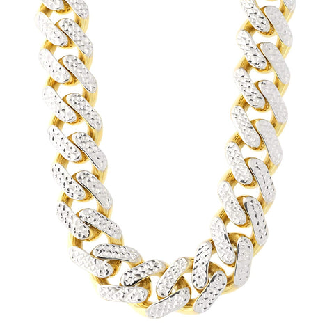 14k Yellow And White Gold Miami Cuban Pave Link Chain Necklace, Width 11.3mm, 24""