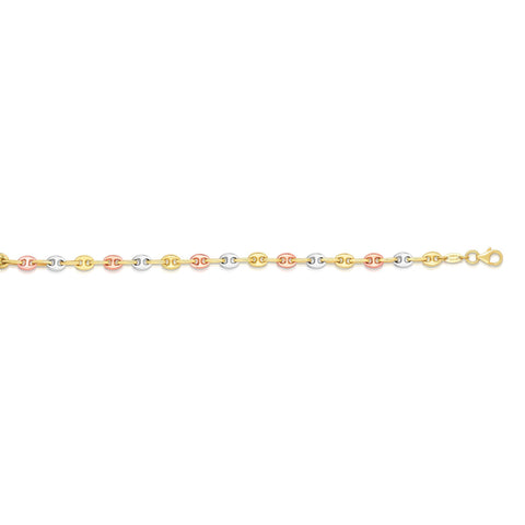 14k Yellow White And Rose Gold Mariner Link Bracelet, 7.25""