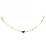 14k Yellow Gold Heart Charm Fancy Bracelet, 7""